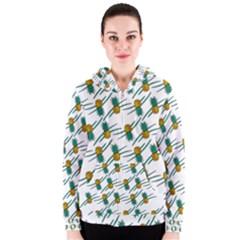 Pineapple Pattern Women s Zipper Hoodies