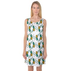 Pineapple Pattern Sleeveless Satin Nightdresses