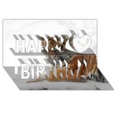 Tiger 2015 0101 Happy Birthday 3D Greeting Card (8x4)