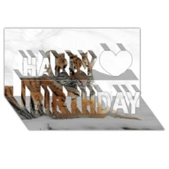Tiger 2015 0102 Happy Birthday 3D Greeting Card (8x4)