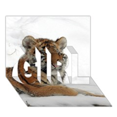Tiger 2015 0102 Girl 3d Greeting Card (7x5)