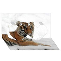 Tiger 2015 0102 Twin Hearts 3D Greeting Card (8x4)
