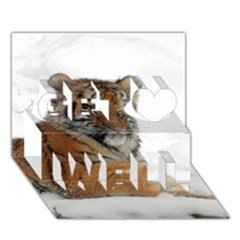 Tiger 2015 0102 Get Well 3d Greeting Card (7x5)