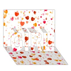 Heart 2014 0604 Girl 3d Greeting Card (7x5)