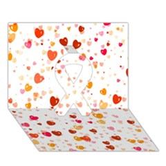 Heart 2014 0604 Ribbon 3D Greeting Card (7x5)
