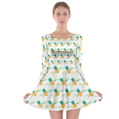 Pineapple Pattern 02 Long Sleeve Skater Dress