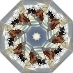 Beautiful Horses Running In A River Hook Handle Umbrellas (medium)