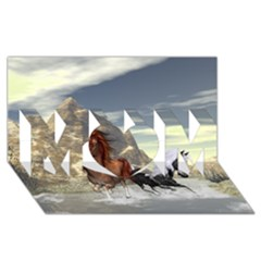 Beautiful Horses Running In A River MOM 3D Greeting Card (8x4)