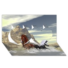 Beautiful Horses Running In A River Twin Hearts 3D Greeting Card (8x4)