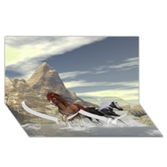 Beautiful Horses Running In A River Twin Heart Bottom 3D Greeting Card (8x4)