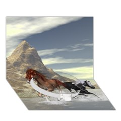 Beautiful Horses Running In A River Circle Bottom 3D Greeting Card (7x5)