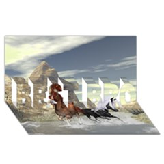Beautiful Horses Running In A River BEST BRO 3D Greeting Card (8x4)