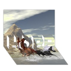 Beautiful Horses Running In A River HOPE 3D Greeting Card (7x5)