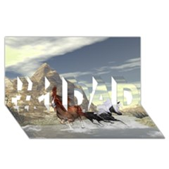 Beautiful Horses Running In A River #1 DAD 3D Greeting Card (8x4)