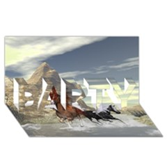 Beautiful Horses Running In A River Party 3d Greeting Card (8x4)