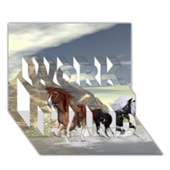 Beautiful Horses Running In A River Work Hard 3d Greeting Card (7x5)