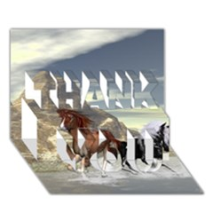 Beautiful Horses Running In A River THANK YOU 3D Greeting Card (7x5)