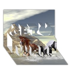 Beautiful Horses Running In A River Get Well 3D Greeting Card (7x5)
