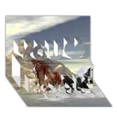 Beautiful Horses Running In A River You Rock 3D Greeting Card (7x5)