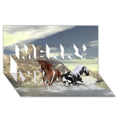 Beautiful Horses Running In A River Merry Xmas 3d Greeting Card (8x4)