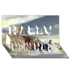 Beautiful Horses Running In A River Happy New Year 3d Greeting Card (8x4)