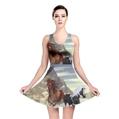 Beautiful Horses Running In A River Reversible Skater Dresses