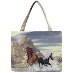 Beautiful Horses Running In A River Tiny Tote Bags