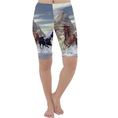 Beautiful Horses Running In A River Cropped Leggings