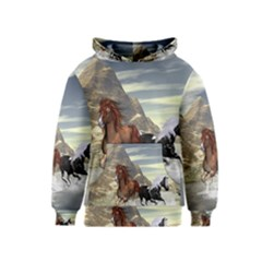 Beautiful Horses Running In A River Kid s Pullover Hoodies