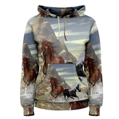 Beautiful Horses Running In A River Women s Pullover Hoodies