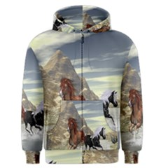 Beautiful Horses Running In A River Men s Zipper Hoodies