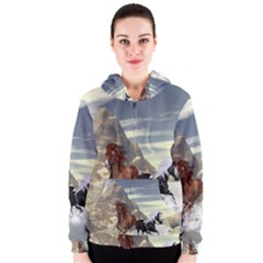 Beautiful Horses Running In A River Women s Zipper Hoodies