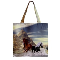 Beautiful Horses Running In A River Zipper Grocery Tote Bags