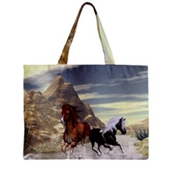 Beautiful Horses Running In A River Zipper Tiny Tote Bags