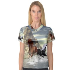 Beautiful Horses Running In A River Women s V Neck Sport Mesh Tee