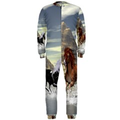 Beautiful Horses Running In A River OnePiece Jumpsuit (Men)