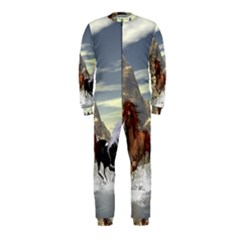 Beautiful Horses Running In A River Onepiece Jumpsuit (kids)