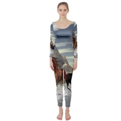 Beautiful Horses Running In A River Long Sleeve Catsuit