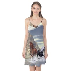 Beautiful Horses Running In A River Camis Nightgown