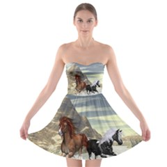 Beautiful Horses Running In A River Strapless Bra Top Dress