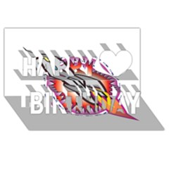 Space Rocket Happy Birthday 3D Greeting Card (8x4)