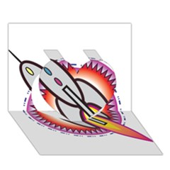 Space Rocket Heart 3d Greeting Card (7x5)