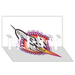 Space Rocket PARTY 3D Greeting Card (8x4)