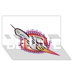 Space Rocket BELIEVE 3D Greeting Card (8x4)