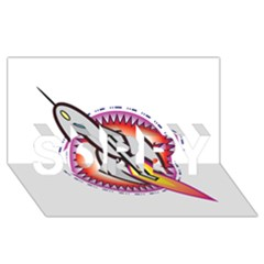 Space Rocket SORRY 3D Greeting Card (8x4)