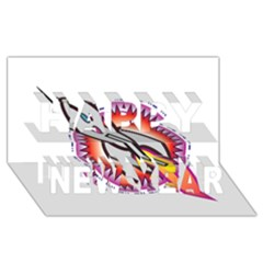 Space Rocket Happy New Year 3d Greeting Card (8x4)