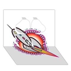 Space Rocket Clover 3d Greeting Card (7x5)