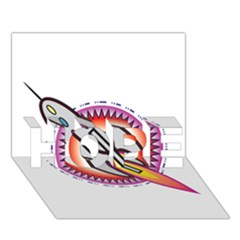 Space Rocket HOPE 3D Greeting Card (7x5)