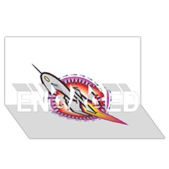 Space Rocket Engaged 3d Greeting Card (8x4)