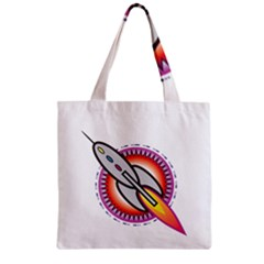 Space Rocket Zipper Grocery Tote Bags